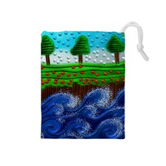 Beaded Landscape Textured Abstract Landscape With Sea Waves In The Foreground And Trees In The Background Drawstring Pouches (medium)