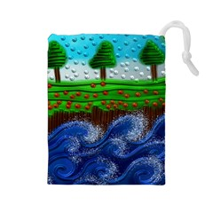 Beaded Landscape Textured Abstract Landscape With Sea Waves In The Foreground And Trees In The Background Drawstring Pouches (large)