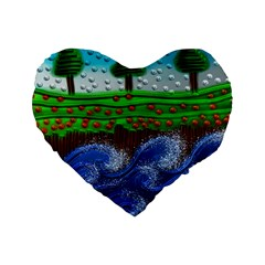 Beaded Landscape Textured Abstract Landscape With Sea Waves In The Foreground And Trees In The Background Standard 16  Premium Flano Heart Shape Cushions