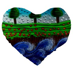 Beaded Landscape Textured Abstract Landscape With Sea Waves In The Foreground And Trees In The Background Large 19  Premium Flano Heart Shape Cushions