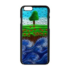 Beaded Landscape Textured Abstract Landscape With Sea Waves In The Foreground And Trees In The Background Apple Iphone 6/6s Black Enamel Case
