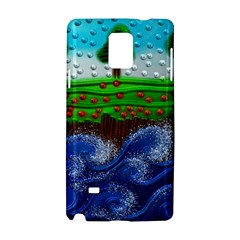 Beaded Landscape Textured Abstract Landscape With Sea Waves In The Foreground And Trees In The Background Samsung Galaxy Note 4 Hardshell Case