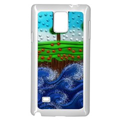 Beaded Landscape Textured Abstract Landscape With Sea Waves In The Foreground And Trees In The Background Samsung Galaxy Note 4 Case (white)