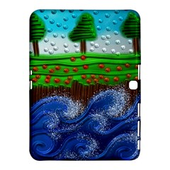Beaded Landscape Textured Abstract Landscape With Sea Waves In The Foreground And Trees In The Background Samsung Galaxy Tab 4 (10 1 ) Hardshell Case