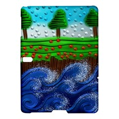 Beaded Landscape Textured Abstract Landscape With Sea Waves In The Foreground And Trees In The Background Samsung Galaxy Tab S (10 5 ) Hardshell Case