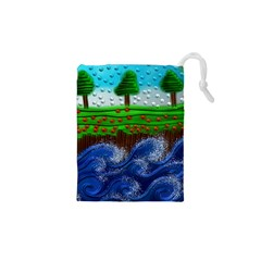 Beaded Landscape Textured Abstract Landscape With Sea Waves In The Foreground And Trees In The Background Drawstring Pouches (xs)