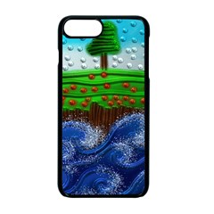 Beaded Landscape Textured Abstract Landscape With Sea Waves In The Foreground And Trees In The Background Apple Iphone 7 Plus Seamless Case (black)