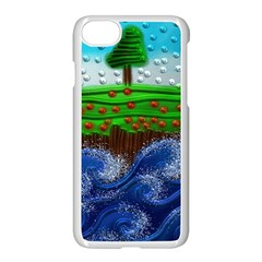 Beaded Landscape Textured Abstract Landscape With Sea Waves In The Foreground And Trees In The Background Apple Iphone 7 Seamless Case (white)
