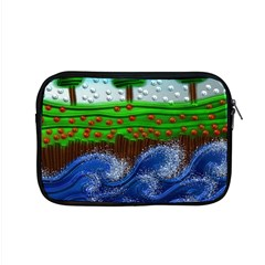 Beaded Landscape Textured Abstract Landscape With Sea Waves In The Foreground And Trees In The Background Apple Macbook Pro 15  Zipper Case