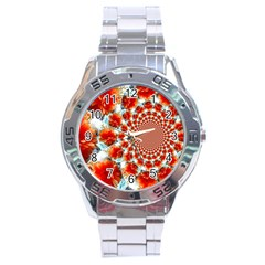Stylish Background With Flowers Stainless Steel Analogue Watch by Nexatart