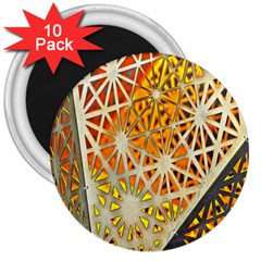 Abstract Starburst Background Wallpaper Of Metal Starburst Decoration With Orange And Yellow Back 3  Magnets (10 Pack)  by Nexatart