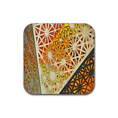 Abstract Starburst Background Wallpaper Of Metal Starburst Decoration With Orange And Yellow Back Rubber Coaster (square)  by Nexatart