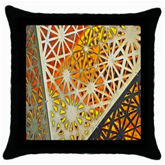 Abstract Starburst Background Wallpaper Of Metal Starburst Decoration With Orange And Yellow Back Throw Pillow Case (black) by Nexatart