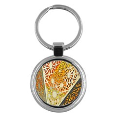 Abstract Starburst Background Wallpaper Of Metal Starburst Decoration With Orange And Yellow Back Key Chains (round)  by Nexatart