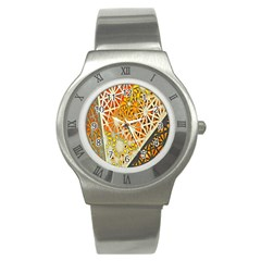 Abstract Starburst Background Wallpaper Of Metal Starburst Decoration With Orange And Yellow Back Stainless Steel Watch by Nexatart