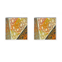 Abstract Starburst Background Wallpaper Of Metal Starburst Decoration With Orange And Yellow Back Cufflinks (square) by Nexatart
