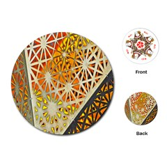Abstract Starburst Background Wallpaper Of Metal Starburst Decoration With Orange And Yellow Back Playing Cards (round)