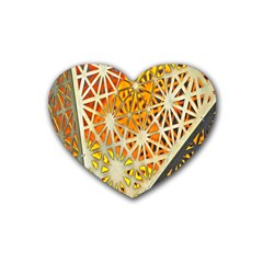 Abstract Starburst Background Wallpaper Of Metal Starburst Decoration With Orange And Yellow Back Rubber Coaster (heart)  by Nexatart
