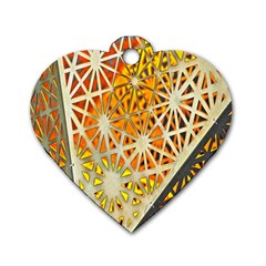Abstract Starburst Background Wallpaper Of Metal Starburst Decoration With Orange And Yellow Back Dog Tag Heart (two Sides) by Nexatart