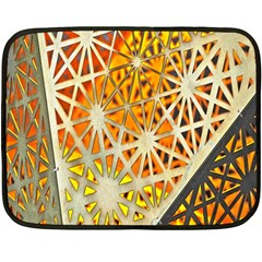 Abstract Starburst Background Wallpaper Of Metal Starburst Decoration With Orange And Yellow Back Fleece Blanket (mini) by Nexatart