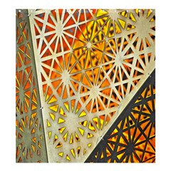 Abstract Starburst Background Wallpaper Of Metal Starburst Decoration With Orange And Yellow Back Shower Curtain 66  X 72  (large)