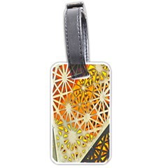 Abstract Starburst Background Wallpaper Of Metal Starburst Decoration With Orange And Yellow Back Luggage Tags (one Side)  by Nexatart
