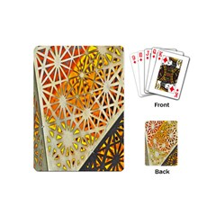 Abstract Starburst Background Wallpaper Of Metal Starburst Decoration With Orange And Yellow Back Playing Cards (mini)  by Nexatart
