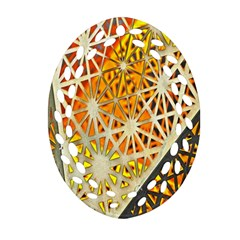 Abstract Starburst Background Wallpaper Of Metal Starburst Decoration With Orange And Yellow Back Oval Filigree Ornament (two Sides) by Nexatart