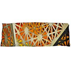 Abstract Starburst Background Wallpaper Of Metal Starburst Decoration With Orange And Yellow Back Body Pillow Case Dakimakura (two Sides) by Nexatart