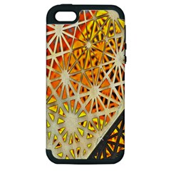 Abstract Starburst Background Wallpaper Of Metal Starburst Decoration With Orange And Yellow Back Apple Iphone 5 Hardshell Case (pc+silicone)