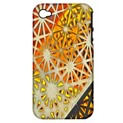 Abstract Starburst Background Wallpaper Of Metal Starburst Decoration With Orange And Yellow Back Apple Iphone 4/4s Hardshell Case (pc+silicone)