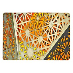 Abstract Starburst Background Wallpaper Of Metal Starburst Decoration With Orange And Yellow Back Samsung Galaxy Tab 10 1  P7500 Flip Case