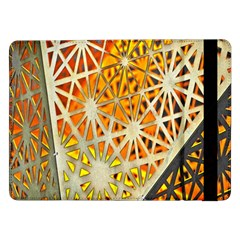 Abstract Starburst Background Wallpaper Of Metal Starburst Decoration With Orange And Yellow Back Samsung Galaxy Tab Pro 12 2  Flip Case