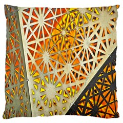 Abstract Starburst Background Wallpaper Of Metal Starburst Decoration With Orange And Yellow Back Large Flano Cushion Case (two Sides)