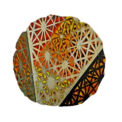 Abstract Starburst Background Wallpaper Of Metal Starburst Decoration With Orange And Yellow Back Standard 15  Premium Flano Round Cushions