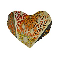Abstract Starburst Background Wallpaper Of Metal Starburst Decoration With Orange And Yellow Back Standard 16  Premium Flano Heart Shape Cushions