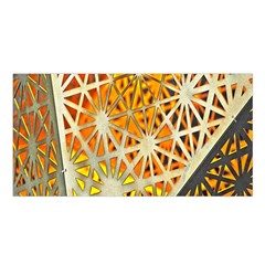 Abstract Starburst Background Wallpaper Of Metal Starburst Decoration With Orange And Yellow Back Satin Shawl by Nexatart