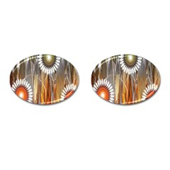 Floral Abstract Pattern Background Cufflinks (oval) by Nexatart