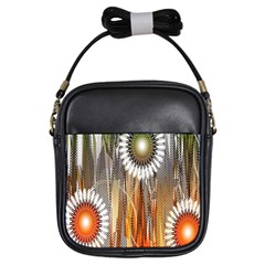 Floral Abstract Pattern Background Girls Sling Bags by Nexatart