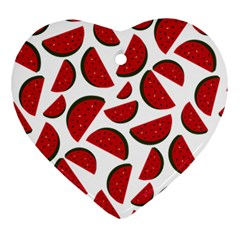 Fruit Watermelon Seamless Pattern Ornament (heart) by Nexatart