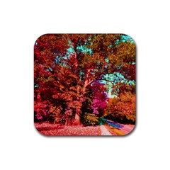 Abstract Fall Trees Saturated With Orange Pink And Turquoise Rubber Coaster (square)