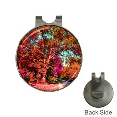 Abstract Fall Trees Saturated With Orange Pink And Turquoise Hat Clips With Golf Markers by Nexatart