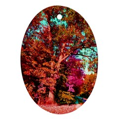 Abstract Fall Trees Saturated With Orange Pink And Turquoise Oval Ornament (two Sides)