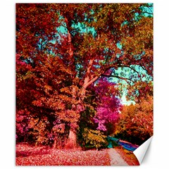 Abstract Fall Trees Saturated With Orange Pink And Turquoise Canvas 20  X 24   by Nexatart