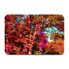 Abstract Fall Trees Saturated With Orange Pink And Turquoise Plate Mats