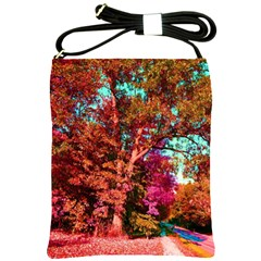 Abstract Fall Trees Saturated With Orange Pink And Turquoise Shoulder Sling Bags by Nexatart