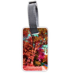 Abstract Fall Trees Saturated With Orange Pink And Turquoise Luggage Tags (one Side)  by Nexatart