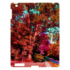 Abstract Fall Trees Saturated With Orange Pink And Turquoise Apple Ipad 3/4 Hardshell Case by Nexatart