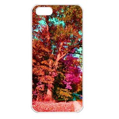 Abstract Fall Trees Saturated With Orange Pink And Turquoise Apple Iphone 5 Seamless Case (white) by Nexatart