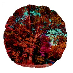 Abstract Fall Trees Saturated With Orange Pink And Turquoise Large 18  Premium Round Cushions